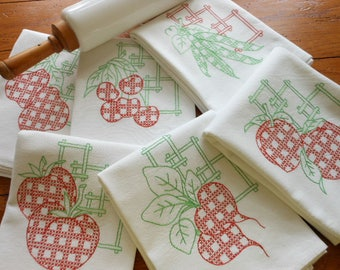 Unused Authentic Flour/Sugar Sack Hand Embroidered Dishtowels Hand Embroidered Dish Towels Fruit And Vegetable Kitchen Towels Free Shipping