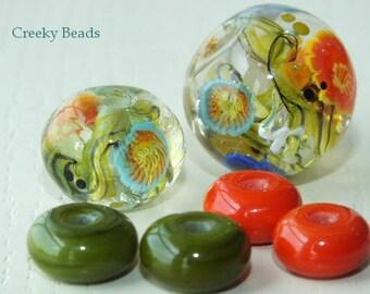 Handmade Lampwork Focal bead - 'Floral Dance!' - Creeky Beads SRA