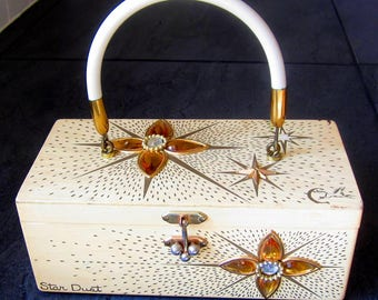Vintage Fabulous 1960's Enid Collins of Texas STAR DUST Cream Wooden Box Purse