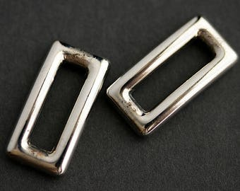 Two (2) Rectangle Links. Recycled Vintage Stainless Steel Links. Vintage Findings. Silver Connectors. Rectangular Connectors. 23mm x 11.5mm