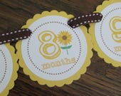 READY to SHIP Sunflower Collection: Just Born/0-12 mos Picture Banner. Sunflower First Birthday Banner. Yellow. Harvest. Autumn. Brown.