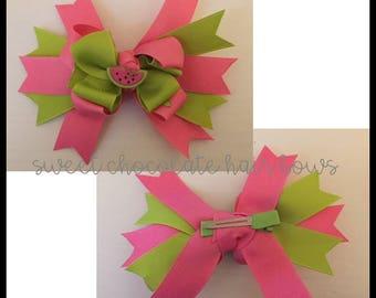 Watermelon Layered Hair Bow