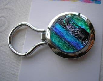 Nurses' Badge Holder, Blues & Greens, Magnetic Brooch, Dichroic Badge Holder, Fused Glass Jewelry, Eyeglass Holder, Work Badge, Nametag