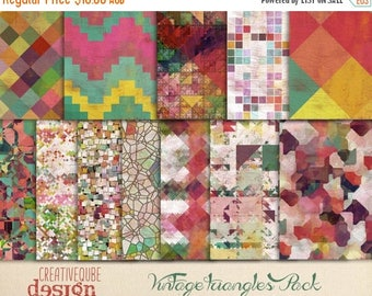 80% Off SALE Vintage Aztec Tribal Digital Paper, Triangular Backgrounds, Digital Scrapbook Paper, Geometric Clip Art, Graphics