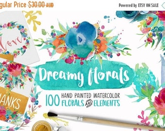 80% OFF Dreamy Florals Watercolor Clipart Bundle - Hand Painted flowers, leaves, wreath, and more