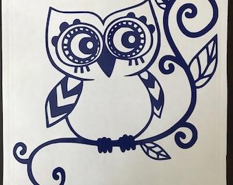 Decorative Owl Vinyl Decal Sticker