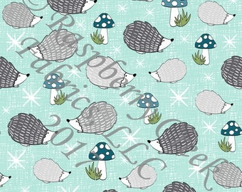 Mint Blue Grey and Teal Hedgehog 4 Way Stretch FRENCH TERRY Knit Fabric, Woodland By Ella Randall for Club Fabrics