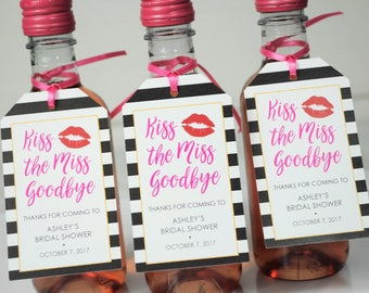 Bridal Shower Favor Tags, Kiss The Miss Goodbye, Mini Wine Bottle Tags, Mini Champagne Tags, Wedding Favors, Personalized Favors - Set of 12