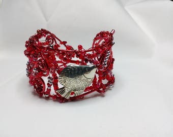 Beaded wire wrapped cuff bracelet in red