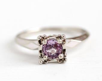 Pink Sapphire Ring - Size 6 3/4 Vintage 14k White Gold Genuine .65 CT Pink Gemstone - Alternative Engagement Fine 1940s Illusion Jewelry