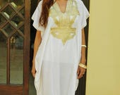 10 OFF Summer SALE  Spring Trend Resort Caftan Kaftan Marrakech Style White with Gold Embroidery beach cover ups resort wear loungewe