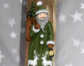 "The Green Suit, St. Nick, hand painted on Ozarks barnwood, original art, 3 1/2"" x 10 1/2"""
