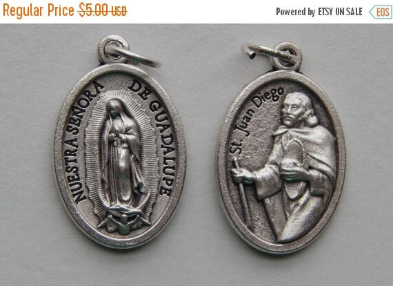 CLOSING SALE 5 Patron Saint Medal Findings - St. Juan Diego, Double, Die Cast Silverplate, Silver Color, Oxidized Metal, Made in Italy, Char