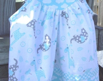 Little Girl's/Baby Girl's/Toddler Girl's Dress in White, Gray, Blue with Elephants and Giraffes