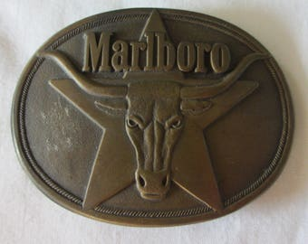 Marlboro Brand Cigarettes Brass Belt Buckle