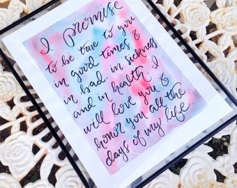 Catholic Wedding Vows Hand Lettered Calligraphy Print Made To Order Unique Present