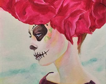 "Acrylic painting original wall art | Catrina de la Playa | 12""x24"" canvas painting one of a kind"