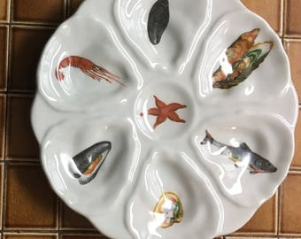 French Country Nautical Oyster Plate, Beachy Chic Sealife and Edibles