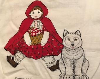 Red Riding Hood Vintage Stuff Sew Fabric Cranston Print Doll