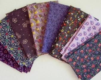 8 Assorted Purples Cotton Fabric Scraps, Fat Sixteenths, Stash Builder, Destash, Quilting, Sewing Set 3