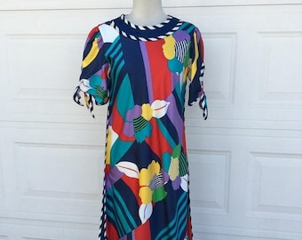 25% OFF SALE 1970s 1980s art deco mod Color block striped Hawaiian dress by MAJ Honolulu size S
