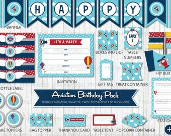 Aviation Birthday, Printable Party Pack,DIY, Banner, Invitation, Favors, Cupcake Toppers, Deco, Airplane, Air Balloon, First, Kid Party