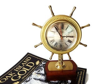 Vintage Nautical Brass Clock/ Ships Steering Wheel/ Small Brass-Look Maritime Clock/ Brass and Wood
