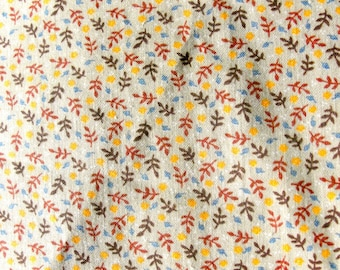 """Vintage Quilting Cotton, Autumn Leaf Print Fabric, Fall Quilt Fabric, Doll Making Material, 43"""" by 44"""" Piece Quilter Piece"""