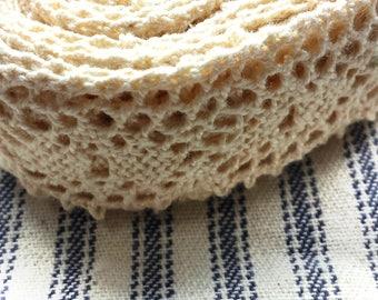 BY THE YARD Vintage Crochet Trim Ecru Cream 7/8 inch wide Lovely Handmade Antique Binding