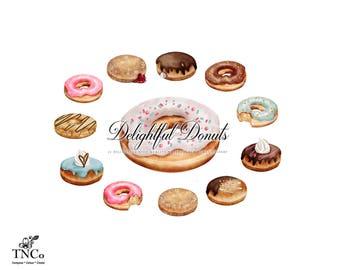 Donut Clipart - Doughnut Clip art - Doughnut Party - Donut Print - Donut printable - Commercial Clip art - Donut illustration - Chocolate