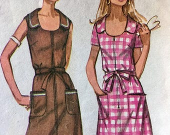 70s Jiffy Dress Pattern Simplicity 8872 Front Zip Bust 38 Size 16