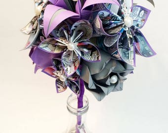 Custom order fo icyonly1- Comic Book Roses & Lilies Bridesmaid Bouquet- 7 inch bouquet of Paper Flowers