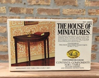 Hepplewhite side table by The House of Miniatures 1970's unused kit components for 1 table unassembled with instructions NWOT X-acto series