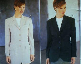 Anne Klein Jacket Pattern, Lined, Notched Collar, Welt Pockets, Back Vent, Two Lengths, Vogue American Designer 1820 UNCUT Size 6 8 10