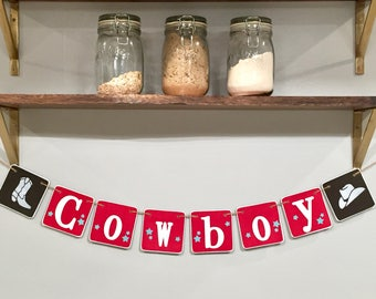 COWBOY Baby banner, baby shower banner, nursery decoration, cowboy photo prop, western baby shower, red and brown, stars, horse, boy bedroom