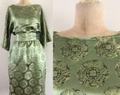 1970's Green Silk Asian Dress w/ Waist Tie & Pockets Size Small Medium by Maeberry Vintage