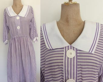 1980's Cotton Purple Striped Shirtwaist Dress