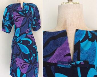 1970's Plus Size Hawaiian Shift Dress Blue & Purple Tiki Plus Size XL XXL by Maeberry Vintage