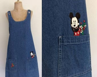 30% OFF 1990's Mickey Mouse Denim Jumper Dress With Pockets Size Medium Large by Maeberry Vintage