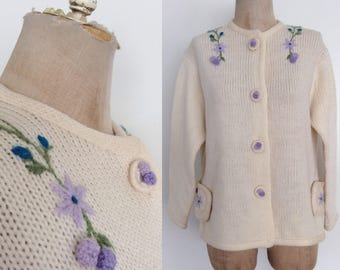 1960's Lavender Floral Embroidered Cardigan Sweater Knit Size Large XL byMaeberry Vintage