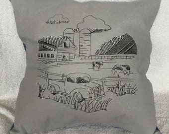 Embroidered pillow with black redwork farm scene with repurposed jeans pocket on back