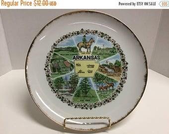 Sale Vintage Souvenir Arkansas Plate Souvenir Gold Trim Plate Arkansas Plate