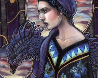 In The Garden of Hesperides Greek Myth Dragon goddess Fine Art Print