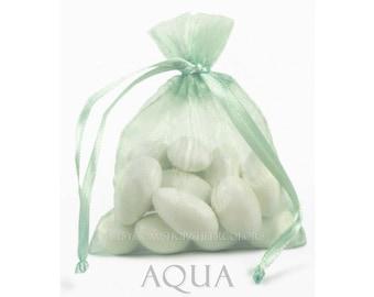 10 Aqua Blue-Green Organza Bags, 5 x 8 Inch Sheer Fabric Favor Bags