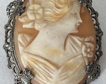 Vintage Shell Cameo Brooch Silver Openwork Filigree