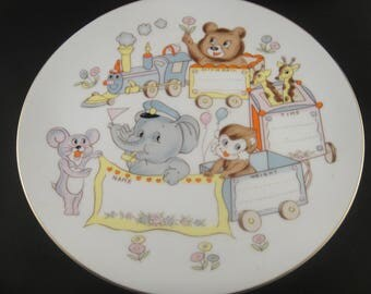 Birth Announcement Baby Plate Animal Train Motif