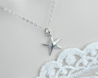 Starfish Necklace, Sterling Silver Starfish Necklace, Ocean Tropical Beach Sterling Silver Necklace, Nautical Necklace, Bridesmaids Gift
