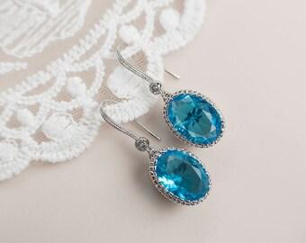 Bridal Earrings, Cubic Zirconia Blue Zircon Earrings, Blue Zircon Earrings, Turquoise Wedding Jewelry, Destination Wedding, Bridal Jewelry