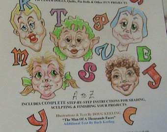 DOLL*PHABET~a face for every letter of alphabet~Doug & Barb Keeling~2008~PDF DoWNLOAD cloth art doll face patterns