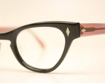 Unused Vintage Cat eye glasses Black Pink cat eye frames NOS